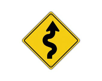 Right Winding Road with Sharp Turn Symbol Metal Aluminum Novelty Traffic Sign