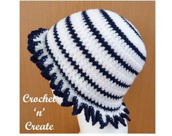 Frilled Brim Hat Crochet Pattern (DOWNLOAD) CNC64