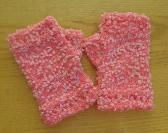 Hand knit pink fingerless mitts