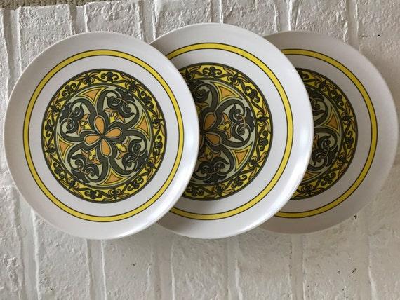 & Mid Century Modern Melamine Plates