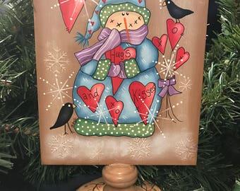 Snowman, Shelf Sitter, Hugs and Kisses Snowman, Holiday Decor, Hugs and Kisses, Hearts, Christmas, Deb Antonick