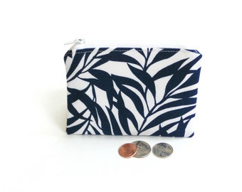 Change pouch coin purse, zipper pouch, classic navy blue white tropical fabric credit card case, gift under 10