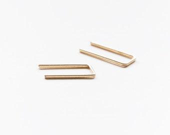 Minimalist Staple Earrings, Geometric earrings, line earrings, hipster style earrings, arc earrings.