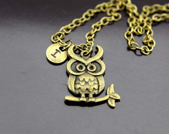 Owl Necklace, Bronze Owl Charm Necklace, Owl Pendants, Owl Charms, Bird Charms, Personalized Necklace, Initial Necklace, Initial Charms