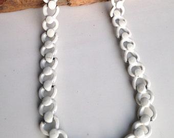 Vintage Necklace, Enamel Necklace, White Enamel, Vintage Monet Necklace, Monet Enamel Necklace, Vintage Necklace
