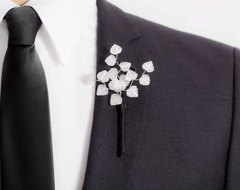 Limited Edition Genuine Quartz Crystal Boutonniere - Clear / White Boutonniere Prom - Leaf Boutonniere - Mens Boutonniere