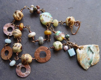 Tell It To The Deep Blue Sea - Porcelain, Lampwork and Gemstones Necklace