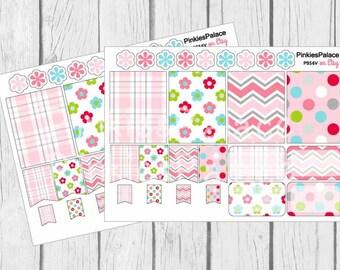 Spring Planner Stickers Full Box Half Box Flags eclp PS56 Fits Erin Condren