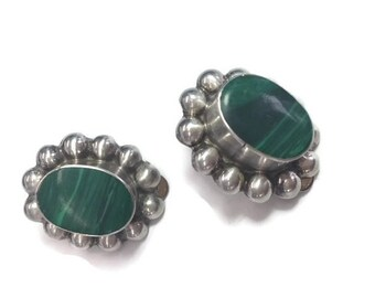 Taxco Silver Earrings Malachite Sterling Earrings Modernist Mid Century Green Dome Clip On Earrings Mexican Jewelry