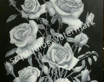 Large airbrushed Roses original