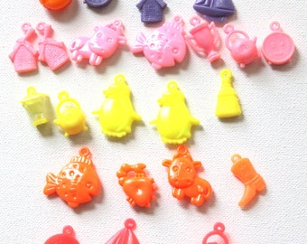 29 Bright Plastic Charms for Jewelry, Scrapbooking or Assemblage