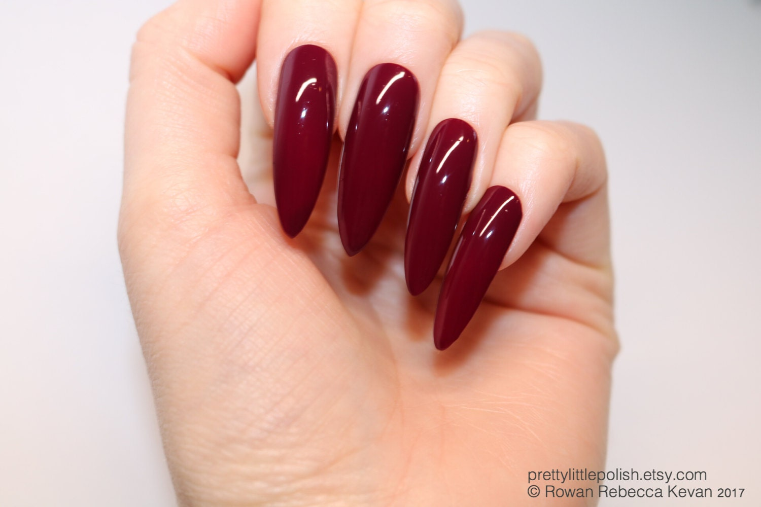 Burgundy long stiletto nails, 20 full set of nails, Stiletto nail ...