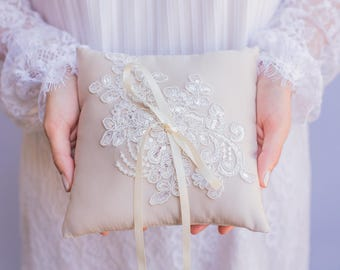 Champagne and Ivory French Lace Applique Ring Pillow -  Handmade in the USA, Ring Bearer Pillow, Ring Pillow, Ring Boy