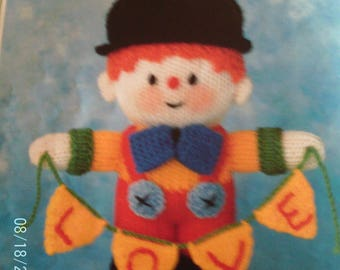 Handmade Knitted Clown With Black Hat And Banner