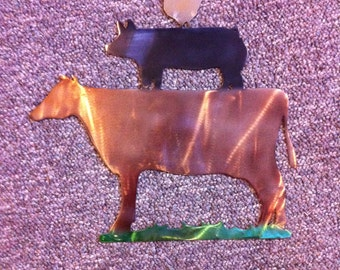 Kitchen Decor Metal Dyed Farm Animals Chicken Pig Cow Hand Painted Metal Dyes Kitchen Country Wall Art