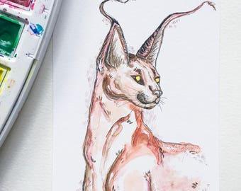 Art de l'aquarelle imprimer illustration «Lynx» / Lynx