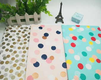 3 sheets Confetti Spot birthday Easter holiday wrapping paper 50cm x 70cm each Gold, pink, teal