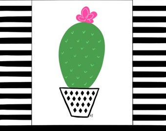 Fun downloadable cactus print with modern striped border