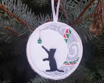 Embroidered Christmas Ornament - Cat
