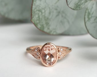 Triple Petal Oval Morganite and Diamond Ring