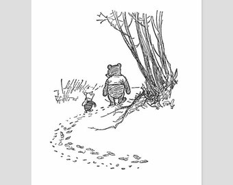 "Pooh and Piglet Print, Black and White Nursery Wall Art (Best Friends Birthday Gift, Winnie the Pooh) Pooh Bear Artwork -- ""Favorite Day"""