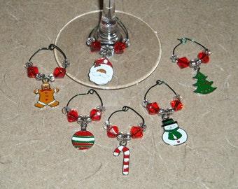 6 piece Christmas wine charm set