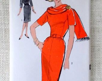 Vintage Pattern Advance 2995 1960s shift dress princess seam wiggle dress belted matching stole scarf Bust 31.5 Size 11