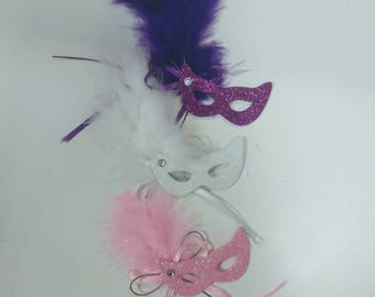 Purple, Pink, White Feather Masquerade Masks (12) Miniature Foam Masks-Small Mardi Gras Masks-Masquerade-Mardi Gras-Wedding-Quince-Sweet 16