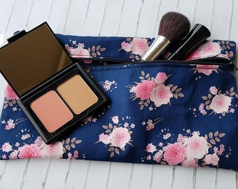 Pink Floral on Navy Background Makeup, Cosmetic, Toiletries, Accessory Bag