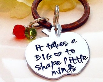 Teacher Keychain-end of school teachers gift-It takes a big heart to shape little minds-Teachers necklace-Teacher appreciation gift-Keychain