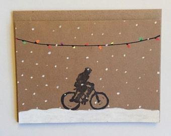 Winter Ride   Hand Printed Card