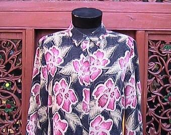 Size 12-14  Silk Flowered Long Sleeve Blouse (Spandex)