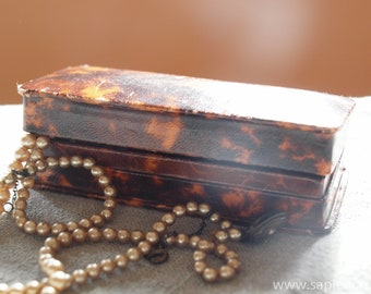 Lovely antique French faux tortoise shell jewelry box