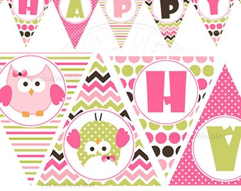 Birthday Girl Owl Printable Party Banner, Printable Pink Owl Happy Birthday Banner, Cute Owl Party Banner, Triangle Banner, Owl Party Banner