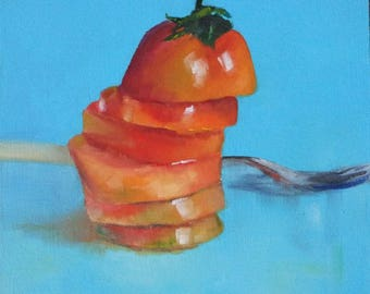 Small oil painting, food painting, kitchen decor, tomato