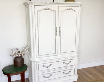 Charmant White Armoire Shabby Bedroom Closet   Vintage Wardrobe For Nursery Or  Bedroom   Painted Distressed Furniture