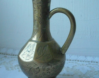 vintage small decorative irregular shaped brass vase