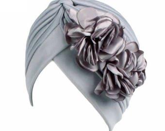 Gray flower head cap turban Hijab beanie chemo hat