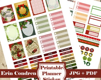 Vintage CHRISTMAS Planner Stickers Kit – Christmas ECLP Printable Planner Stickers Erin Condren Planner Stickers Functional Planner DOWNLOAD