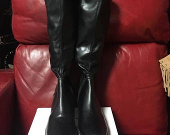 1990's Kenneth Cole Reaction Black Heeled Boots, Size 7.5, Brand New, Never Worn