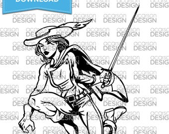 Pirate Woman with Sword Cut File | Silhouette | Cricut (SVG File, DXF File, EPS File)