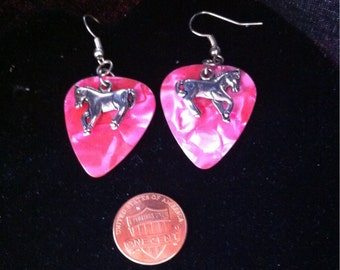 Silver Plated Horse Earrings, Pink Marbled Guitar Pick, Girl's Earrings, Gift for Horse Lovers, Ranchers Gift, Nickle Free