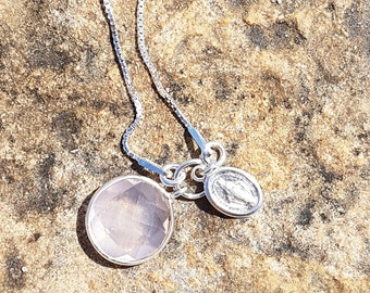 Necklace silver and Rose Quartz, and medal pendant