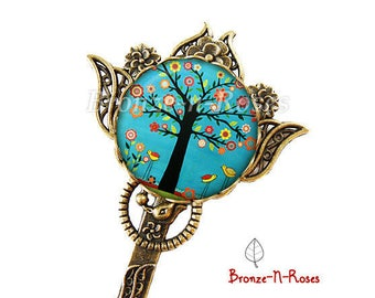"""Bookmark """"Garden of Eden"""" tree flowers turquoise red cabochon jewel"""