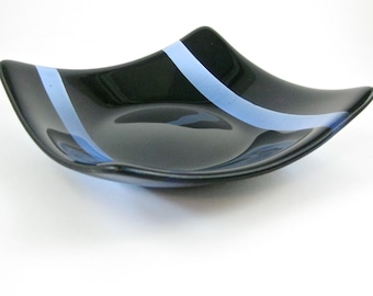 Black and Blue Fused Glass Dish - Glass Plate - Handmade Glass Serving Dish