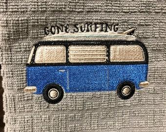 VW Bus Kitchen Dish Towel Gone Surfing