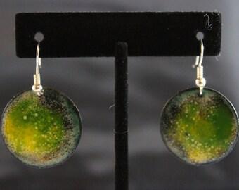 Greenish Enameled Copper Earrings (022017-036)
