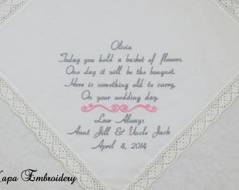 Flower Girl Junior Brides Maid Embroidered wedding Handkerchief wedding Hankerchief wedding gift poem personalized FlowerGirl Bridesmaid