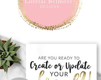 222 - Lorelai Belmore, LOGO Premade Logo Design, Branding, Blog Header, Blog Title, Business, Boutique, Custom, Modern, Pink, Gold, Circle