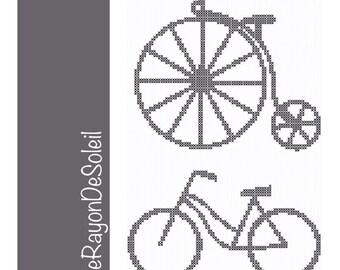 Cross stitch pattern modern antique bikes